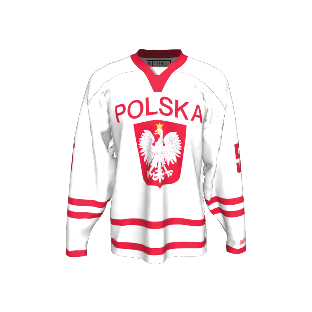POLISH NATIONAL TEAM HOCKEY JERSEY – 5IVEHOLE 6110bc30616