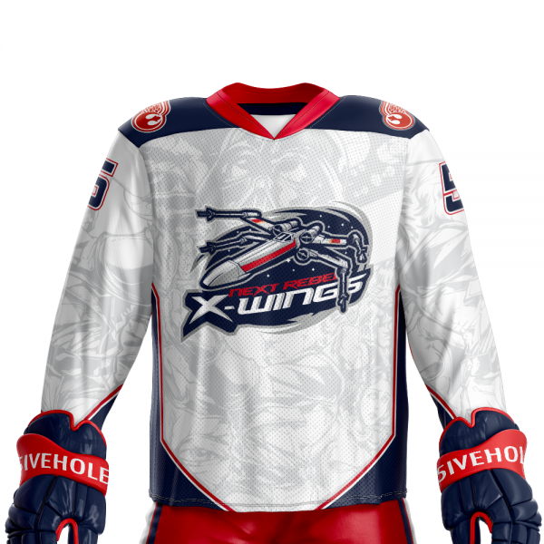 next rebel xwings custom sublimated hockey jersey front light