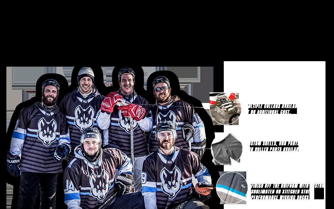 5IVEHOLE produces custom sublimated & twill hockey jerseys, shells and socks.
